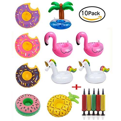 Getränke Halter Einhorn Obst Donuts Flamingo Schwan Aufblasbare Pool Schwimmt für Pool Party Wasser Spaß (10 stücke + 1 stücke Aufblasbare) ()