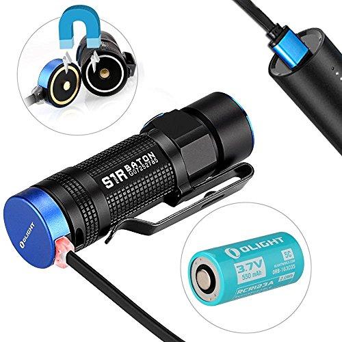 Preisvergleich Produktbild Olight® S1R Baton aufladbar LED Taschenlampe max. 900 Lumen mit Cree XM-L2 LED - inkl. 1 x RCR123A Akku, Schwarz