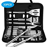 VPCOK Ustensiles Barbecue kit Barbecue avec Brosse Nettoyage 33 pièces Accessoires Barbecue...