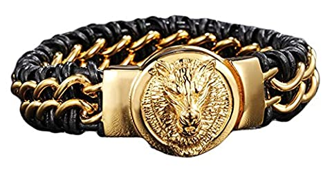 SaySure - Lion Wolf Head Bracelet Men Genuine Leather Mens