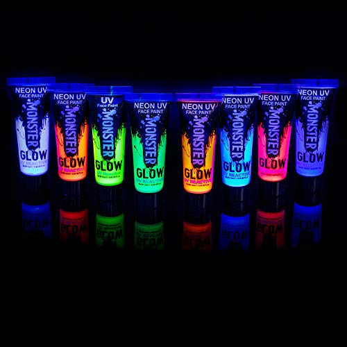 Premium Quality Monster Glow UV Neon Glow Face & Body Paint (Pack of 8) - Brightest Glow Under UV!