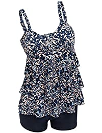 dd4f2d0861 Ecupper Women's Plus Size Tankini Sets Two Piece Floral Printed Swimsuits  Ruffle Swimming Costume with Boyshorts