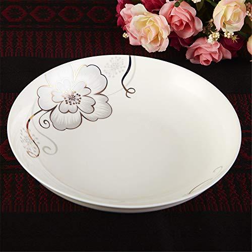 YUWANW Hibiscus Scheibe Keramikschale Dish Dish Obstteller keramische Haushaltsutensilien 7 Zoll Wasser geladen Scheibe 4 - Hibiscus Teller Pflanzen
