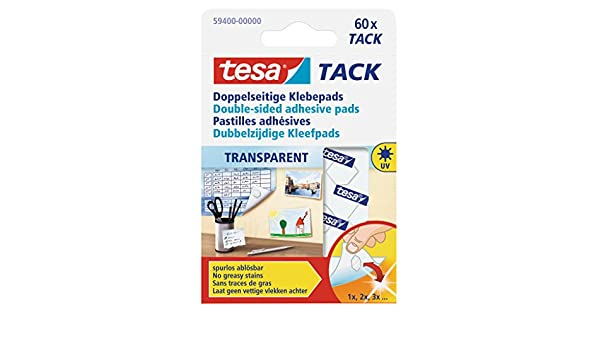 Tesa Doppelseitige Transparent 59400 Klebepads,Inh 60 Pads Beidseitig Tack