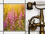 creatisto Fliesen-Folie Sticker Aufkleber selbstklebend | Fliesendekor Klebefolie Badezimmer renovieren Küche Bad Design | 20x25 cm Design Motiv Flower Meadow - 1 Stück