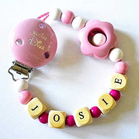 Baby ciuccio catena (in legno) personalizzato con nome per bambine motivo la piccola diva (Personalizzato Lenti A Contatto)