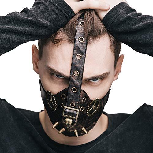 Halloween PU-Maske - Vintage Steampunk Pest Arzt Dead Bird Gear Maske PU Leder Gothic Masquerade Maske Cosplay Requisiten - 56 (W) cm x 12 (High) cm