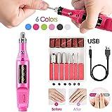HWJ Kit Manicure Elettrico USB 6 in 1, Strumenti di lucidatura Professionali Utensili Portatili per Pedicure per smerigliatrice di File Fascette per Smalto per Unghie per Arte e Pedicure