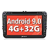 Pumpkin Android 9.0 Autoradio GPS DVD RAM:4GB ROM:32GB pour VW Golf, touran, Jetta, Polo, Passat Navigation de Voiture Ecran Tactile 8 Pouces supporte Bluetooth WiFi 4G USB SD Commande au Volant