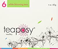 Teaposy Medley (Variety of 6 Jasmine Scented Silver Needle White Blooming Teas with Herbal Flowers)