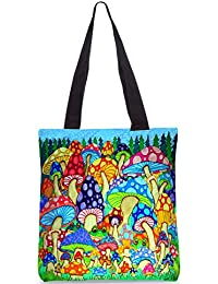 Snoogg Colorful Mushrooms Designer Poly Canvas Fashion Printed Shopping Shoulder Lunch Tote Bag For Women