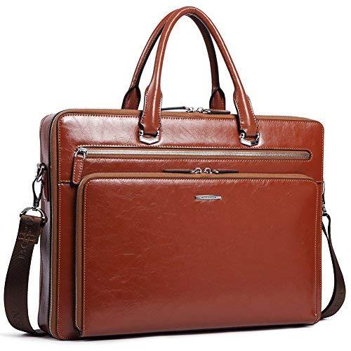 BOSTANTEN Herren Leder Aktentasche Laptoptasche Männer Businesstasche Umhängetasche Schultertasche Braun
