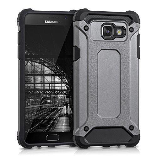 kwmobile Hybrid Outdoor Hülle für Samsung Galaxy A5 (Version 2016) mit Transformer Design - Dual TPU Silikon Hard Case Handy Hard Cover in Anthrazit Schwarz