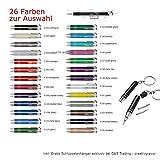 Aluminium - Kugelschreiber COSMO mit Lasergravur / Gravur - Farben sortenrein oder Gemischt (alle mit gleicher Gravur) 26 Farben zur Auswahl + Schlüsselanhänger, Menge:25 Stück