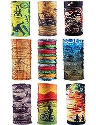 E-db 9Pack Multifuncional Headwear 12-In-1 Magic Bufanda Diadem Bandana Cuello Bufandas Ciclismo, Subida, Senderismo Mujeres, Hombres, Niños (Travel)