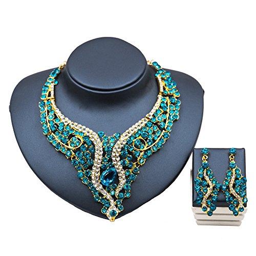Zhongsufei Frauen Prinzessin Halskette Mode-Kragen 6 Farbe Halskette Ohrringe Set Schmuck Set Kette Halskette Erklärung Anhänger Bib Halskette Ohrringe Set für Mädchen/Frau Geschenk (Farbe : Blau)