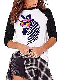 Camisa de Remiendo con Estampado de Flamenco para Mujer Camiseta de Manga Larga de Gran tamaño