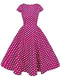 FAIRY COUPLE 1950S Retro Rockabilly Tupfen Kappen Hülsen Abschlussball Kleid DRT019(XL,Rose Kleine weiße Punkte)