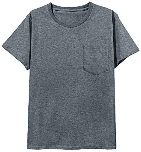 COSAVOROCK Herren Schwere Baumwolle 6.65-8.99 Unze Einfarbige Pocket T-Shirts (L, Dunkelgrau) -