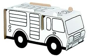 petite construction en carton : camion de pompier