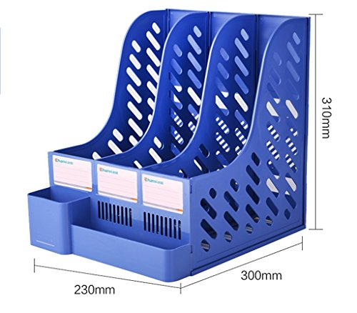 Soporte para libros de escritorio Blue Grey Plastic Office ( Color : Azul , Tamaño : 300*230*310mm )