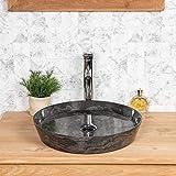 wanda collection Lavabo encimera de mármol para Cuarto de baño Malo 45 Negro