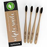 Eco Toothbrush Made From Bamboo & Charcoal Infused Bristles | Family Pack of 4 | BPA Free & Eco-Friendly | Eco Friendly Toothbrush | Biodegradable | Natural Whitening