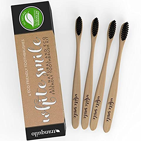 Organic Bamboo Toothbrush with Charcoal Infused Bristles | Family Pack of 4 | BPA Free & Eco-Friendly | 100% Plastic-Free | Biodegradable | Natural Whitening