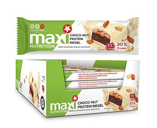 nriegel weiße Schokolade-Erdnuss - Zuckerarmer Eiweißriegel für den Snack zwischendurch - 18 x 45 g Protein Riegel ()
