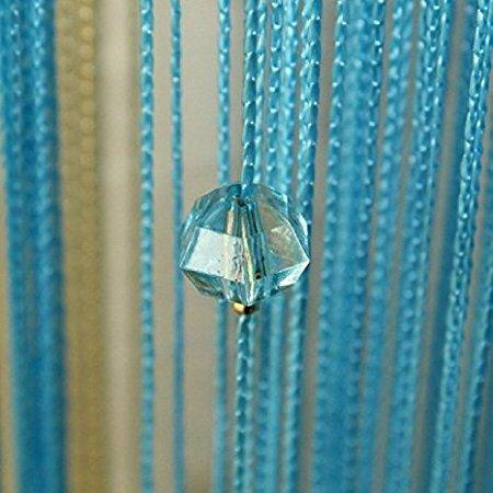 HTOYES Dekorativer Fadenvorhang mit Perlen, Wandvorhang, Schaufensterdekoration, Raumteiler, für Hochzeit, Café, Restaurant, mit Kristallquaste, Innendekoration (Blau)