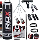 RDX Sac de Frappe Rempli Lourd Punching Ball MMA Muay Thai Kickboxing Arts Martiaux Kit Boxe Avec Gants Chaine Suspension support Plafond Punching Bag