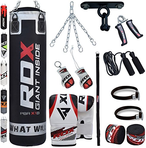 RDX Boxsack Set Gefüllt Kickboxen MMA Muay Thai Boxen mit Deckenhalterung Stahlkette Training Handschuhe Kampfsport Schwer Punchingsack gewicht 4FT 5FT Punching Bag