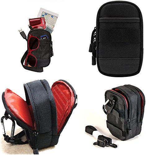 Canon Compact Digital Camera Bag Case Shoulder Strap Zipped with Separate Zipped Accessory Pocket and Internal Slip Pocket for SD Cards and Other Camera Accessories, Compatible for Point-and-Shoot Camera and Compatible with All Compact Digital Camera size up to 14.5 cm x 9 cm x 5.5 cm