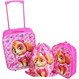 Paw Patrol Skye Pink 3 Piece Childrens Kids Travel Luggage Set Trolley Bag Suitcase Backpack Drawstring Shoes Swim Gym Bag