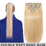 Clip in extensions echthaar Doppelt Tressen 100% Remy Echthaar 8 teiliges set Haarverlängerung dick (40cm-130g,#24 Mittelblond)