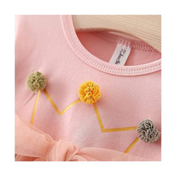 Vestido 6-18 Meses Tutú para Bebé Malla Vestidos para Niñas Princesa Falda de Tul de Fiesta con Bowknot Pompón Piel… 2