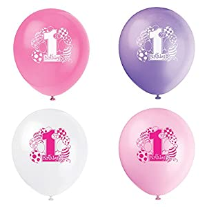 Unique Party- Globos de Látex Primer Cumpleaños, 8 Unidades, Color rosa (23895)
