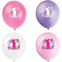 Unique Party 23895 - Palloncini Rosa per Primo Compleanno, Confezione di 8
