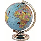 Iqkids Educational/Antique Laminated Globe With Steel Finish Arc And Base / World Globe / Home Decor / Office Decor / Gift Item / 8 Inches (Sky Blue)
