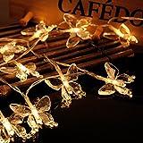 dairyshop 2,2m 20LED-Lichterkette wasserdicht Butterfly Fairy batteriebetrieben Xmas Party Decor warmweiß