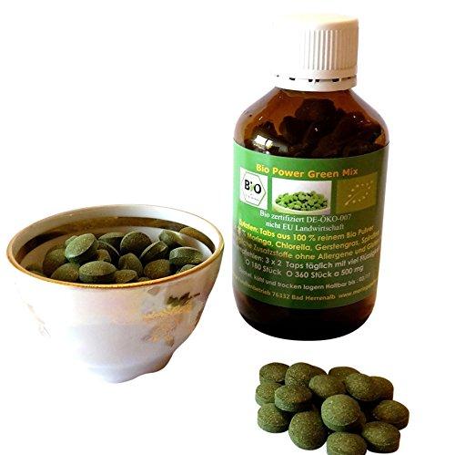 180 Bio Green Power Mix Tabs: Bio Moringa, Bio Gerstengras, Bio Chlorella, Bio Spirulina 100% rein deutsche Bio Verarbeitung 500 mg im Apotheker Braun Glas -