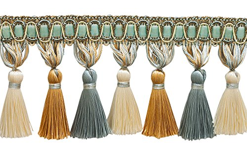 Elegante 33/10,2cm lang silber blau, gold, creme Quaste Fransen-Island Breeze 5939(Verkauft von der Hof) -