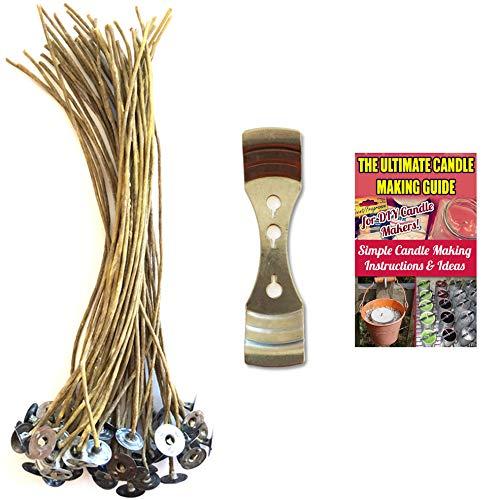 CozYours - 50 mechas de 200 mm de cera de abeja con mecanismo de centrado de mecha de vela; bajo humo y natural; velas DIY HACKS E-BOOK INCLUIDO. Mechas de vela para hacer velas