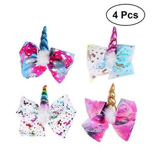Frcolor Einhorn jubeln Haarbögen, Einhorn Bogen Haarspange Haarspangen Haarnadel für Mädchen Cosplay Kostüm Weihnachtsfeier, 4 ()