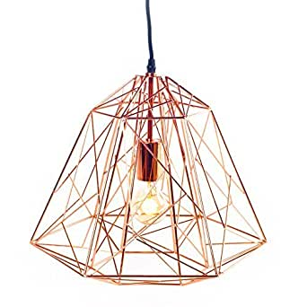 Plafonnier ampoule basile cuivre lignes droites - Luminaire suspension cuivre ...