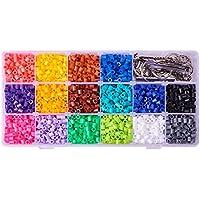 PandaHall 3000pcs Abalorios fusibles de 16 colores con base de broche correas móviles para manualidades de