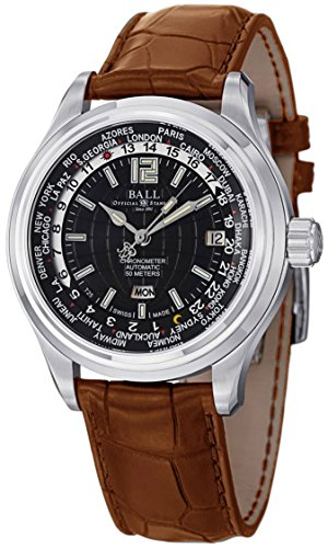 Ball Trainmaster Worldtime Automatic Mens Strap Watch Black Dial Day/Date...