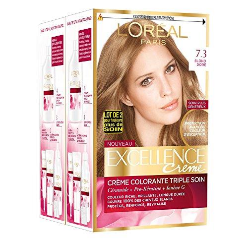 L'Oréal Paris - Excellence Crème - Coloration Permanente Triple Soin 100% Couverture Cheveux Blancs - Nuance 7,3 Blond Doré - Lot de 2