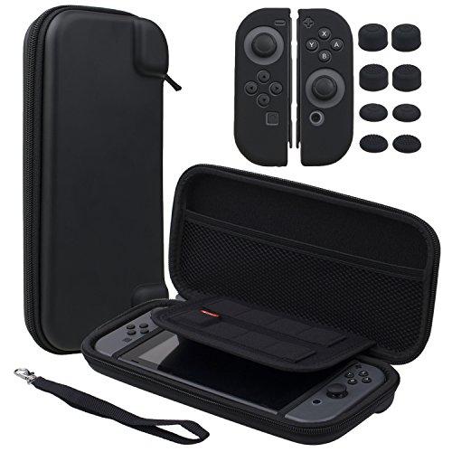 Pandaren® 3 IN 1 Trage tasche Beutel Lagerung Aufbewahrungsbox (schwarz) für Nintendo Switch Konsole und Spiele MIT Silikon hülle x 2, PRO Daumen Griffe aufsätze x 8, gehärtetem Glas Film x 1 (Glas-lagerung)