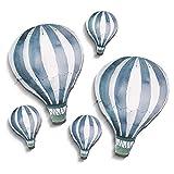 Luvel - (m21) - 5 Stück - Watercolor Heißluftballons Sticker Wanddeko Wandbilder Wandtattoo Kinderzimmer (Blau)